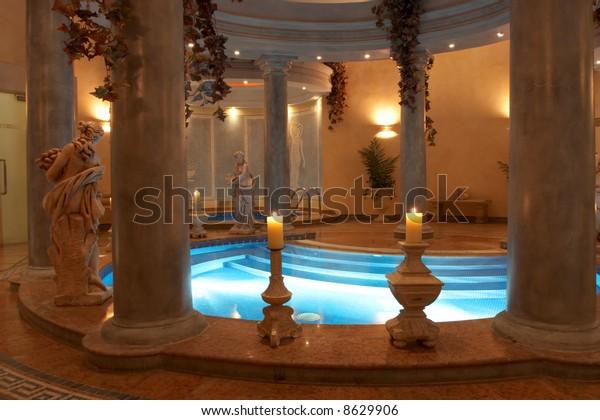 Spa Roman Columns Statues Stock Photo Edit Now 8629906