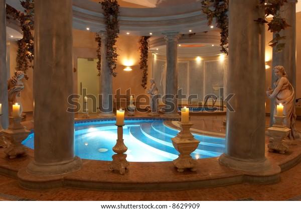 Spa Roman Columns Statues Stock Photo Edit Now 8629909