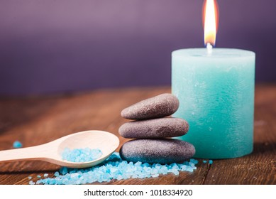 Spa salt, candle and stone treatment. Aromatherapy for beauty, wellness, relaxation. Aroma healthy nature massage. Relax medicine therapy. Sea cosmetic for body.