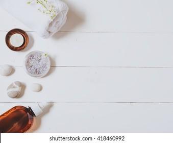 Spa, salt and towel. Top view
