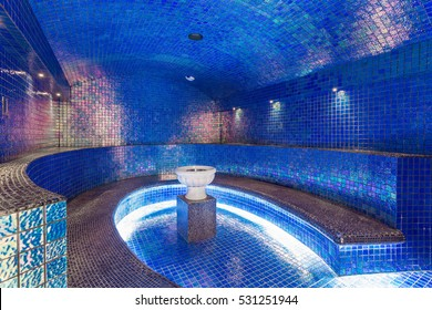 Spa or sauna relaxation room interior design.