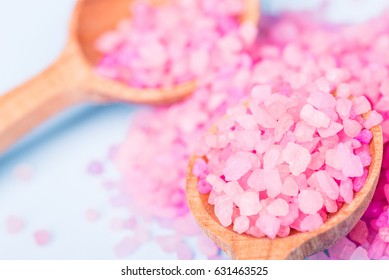 Spa sea salt for bath. Natural health care. Beauty, healthy therapy. Gray background. Fresh relax for body. Treatment for relaxation and wellness. Closeup aroma crystal. Cosmetic salon.