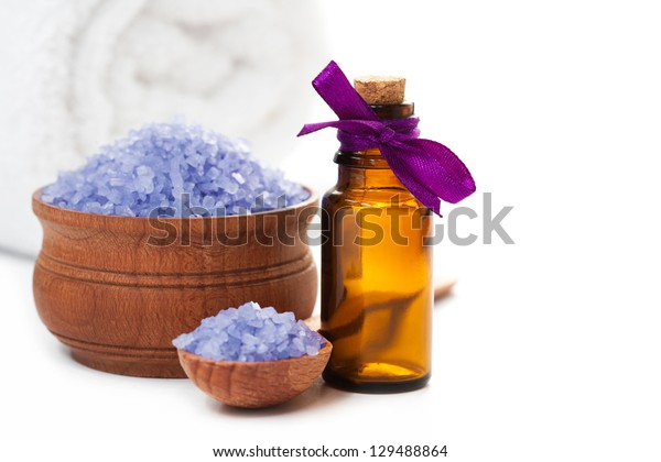 Spa with sea salt and towel