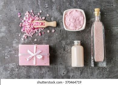 Spa set: liquid soap, bar of handmade soap, sea salt and essential oil.