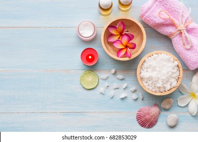 Spa set on blue rustic wooden board background, Beauty and fashion concept, top view , flat lay