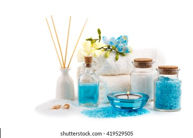 Spa setting , aromatherapy and health care items, isolated on white
