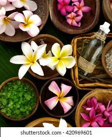 spa setting and banana leaf  - Shutterstock ID 420969601