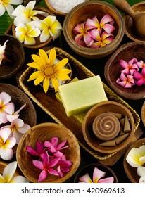 spa setting and banana leaf  - Shutterstock ID 420969613
