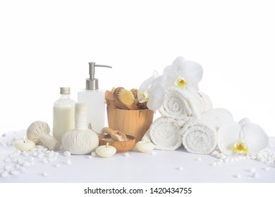 spa setting concept on pile of white stones