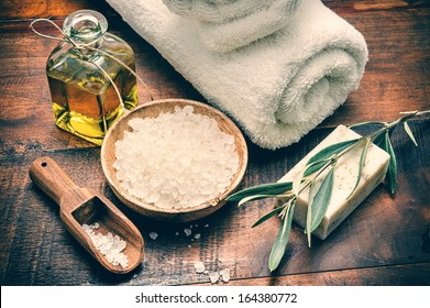 Spa setting with natural olive soap and sea salt