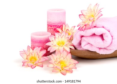 Spa setting in pink tone isolated in white