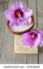 spa setting with purple flower