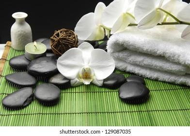 Spa Settings on green thin bamboo mat