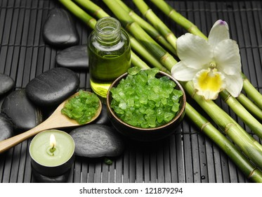 Spa Settings (zen stones, massage oil, bamboo grove , orchid, sea salt in bowl)