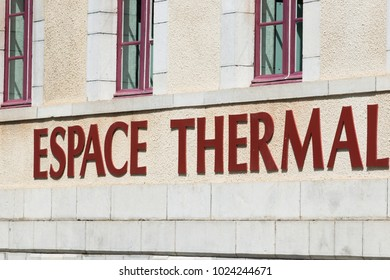 Spa sign on building