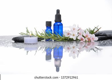 Spa still with cherry flower, leaves, black stones, oil bottle, candle