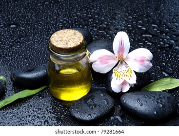 Spa still life beautiful orchid with massage oil and stones