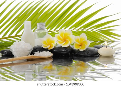 Spa still life with black stones and, plumeria, candle, salt in spoon , on bowl, bottle, oil,palm