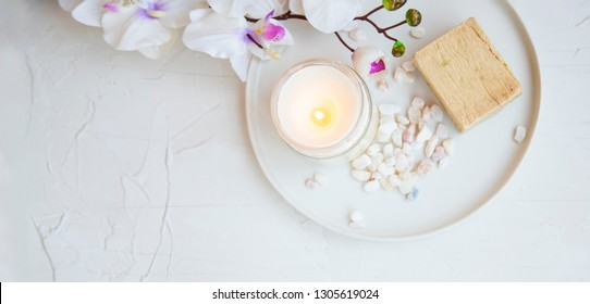 Spa still life setting with orchid flower