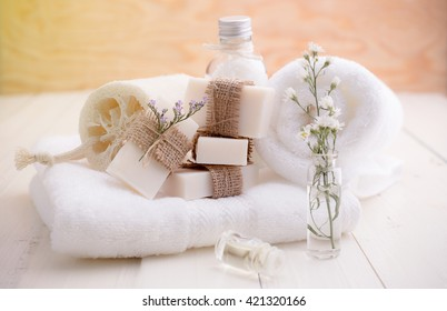Spa still life ,Spa soap on a white towel.
