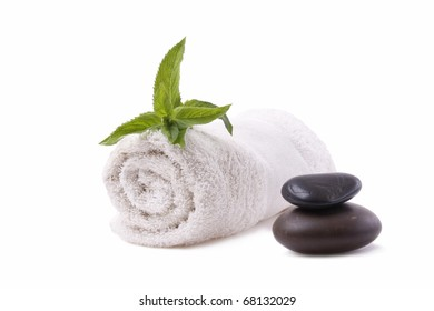 Spa still life-towel isolated on white background