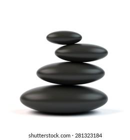 Spa stones. 3d illustration.