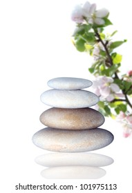 spa stones and apple blossom