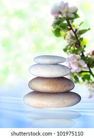 spa stones and a branch of apple  blossom on the background