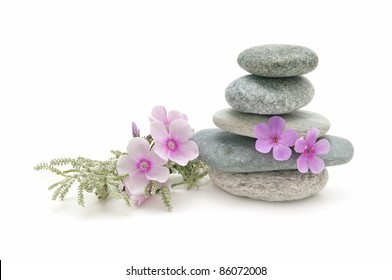 spa stones and herbs