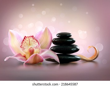 Spa Stones and Orchid Flower. Stone Massage. Black Basalt Stones over Pink Background