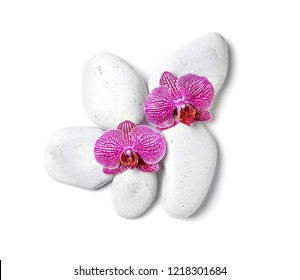 Spa stones with orchid flowers on white background, top view