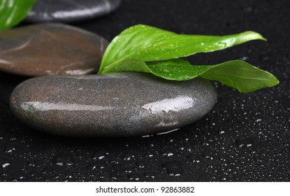 spa stones with water drops and leaves on black background