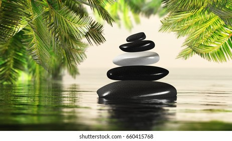 Spa Style Pyramid of stones in the water against the background of green leaves 3D rendering