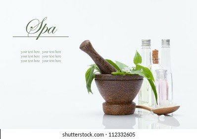 spa theme object on white background. banner. lots of copy space
