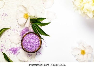 Spa Theme Objects Bath Salt, Flowers with White Background for Text Card Concept, Top View. Selective focus.