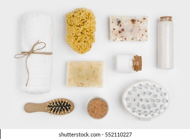 Spa threatment and massage products isolated on white background
