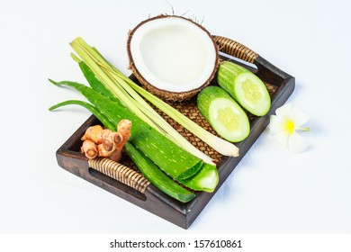Spa treatment with alovera with coconut with lemongrass with turmic and cucumber