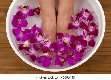Spa treatment with beautiful orchids