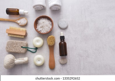 Spa treatment concept, flat lay composition on light gray background
