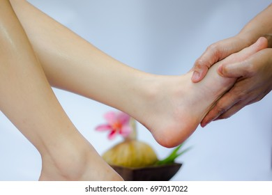 Spa treatment Massage and product for feet spa with white background; select and soft focus.