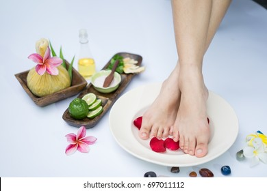 Spa treatment and product for feet spa with white background. select and soft focus.