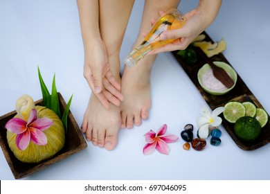Spa treatment and product for feet spa with white background; select and soft focus.