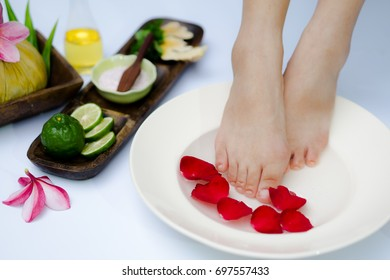 Spa treatment and product for feet spa with white background.select and soft focus.