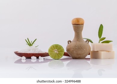 Spa treatment  sea salt and herbs natural spa Ingredients for scrub and skin care isolate on white background.