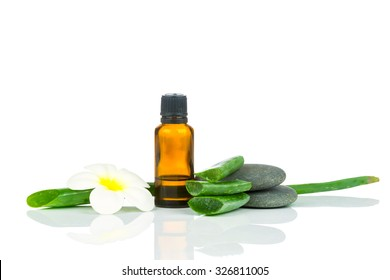 Spa treatment set on white background