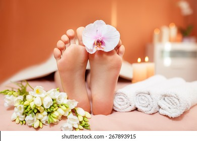 Spa treatments for the feet. orchid flowers