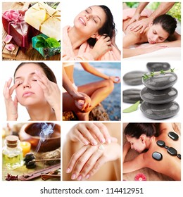 Spa treatments and healthy living. Collage of nine pictures.