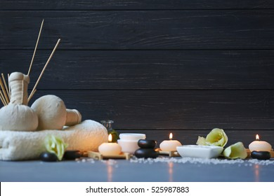 Spa treatments on blue wooden table - Shutterstock ID 525987883