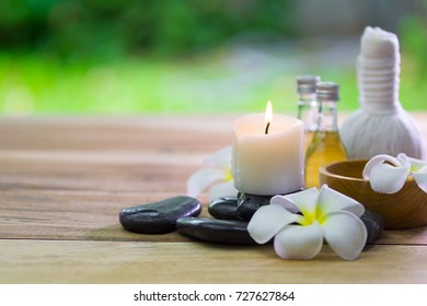 Spa treatments on blue wooden table