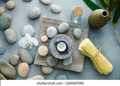 Spa and wellness. Fresh towels  with massage stones . Spa treatment. Overhead flatlay